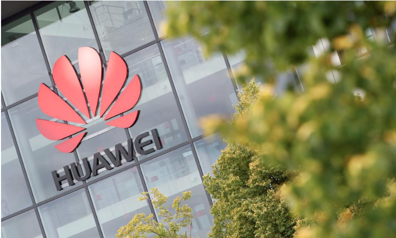 Huawei logo is pictured on the headquarters building in Reading, Britain July 14, 2020. REUTERS/Matthew Childs